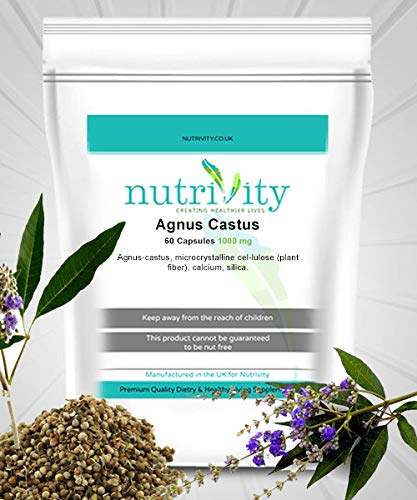Agnus Castus 1000mg Tablets UK Veg, Menopause PSM Insomnia Supplement Nutrivity (30)