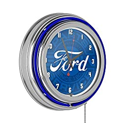 Trademark Gameroom Ford Chrome Double Rung Neon Clock - Ford Genuine Parts