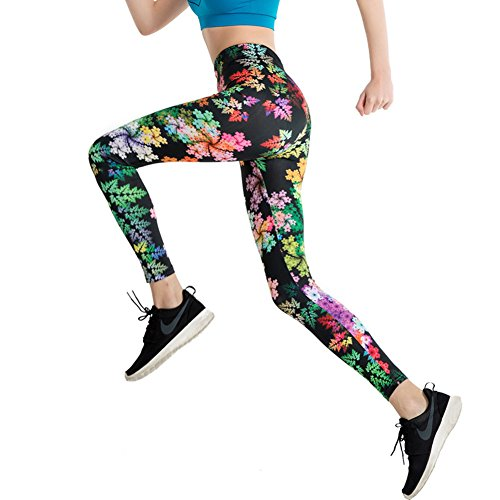 Damen Leggings, Morbuy Sport Gym Yoga Workout Pants Basic Fitness Hohe Taille Jogginghose Trainingshose Skinny Hosen Hose Sporthose (XL, Regenbogenbaum)