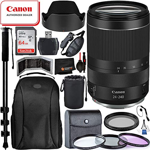 Canon F 24-240mm f/4-6.3 is USM Lens(#3684C002) with Must Have Accessory Bundle: Includes - SanDisk Ultra 64GB Memory Card + 3pc Filter Kit(UV, CPL, FLD) + Variable Neutral Density Filter + More