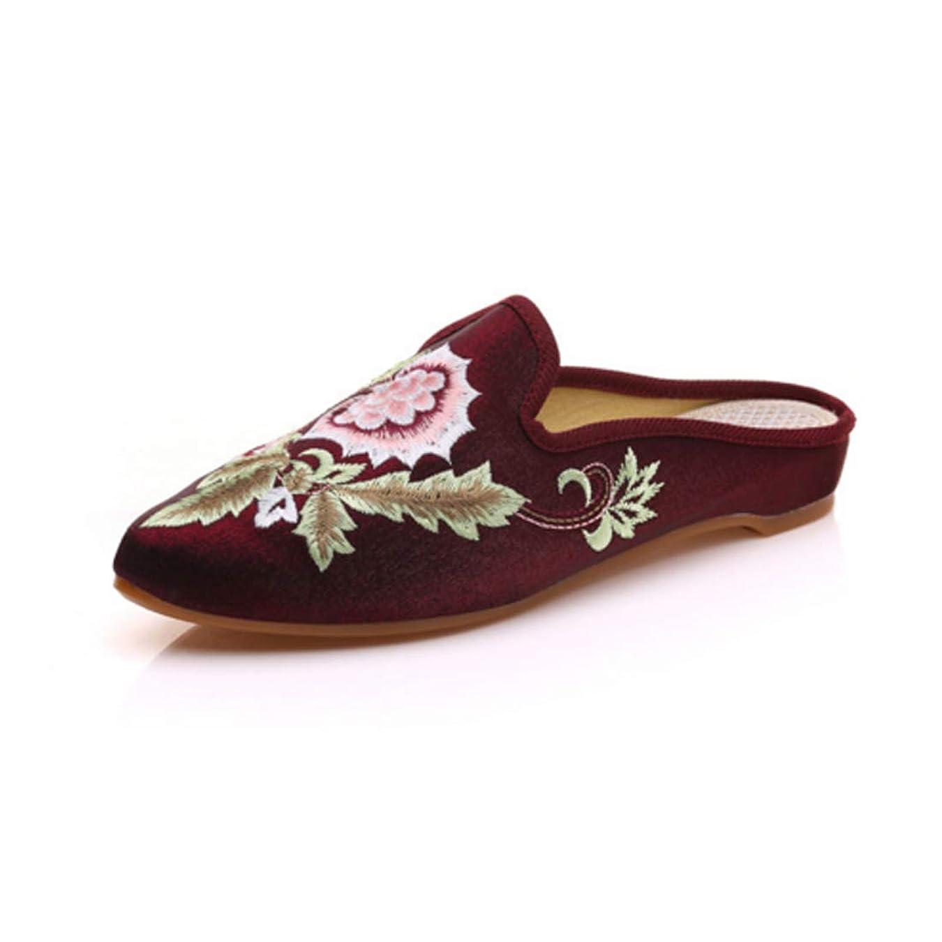 独裁銅モスクInlefen 刺繍入りシューズ 婦人向け 中国語 フローラル 刺繍 先のとがったつま先 スリッパ カジュアルシューズ
