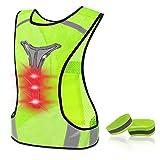 DN DENNOV Chaleco reflectante LED para bicicleta, ajustable, con iluminación y banda reflectante para correr, correr o ciclismo