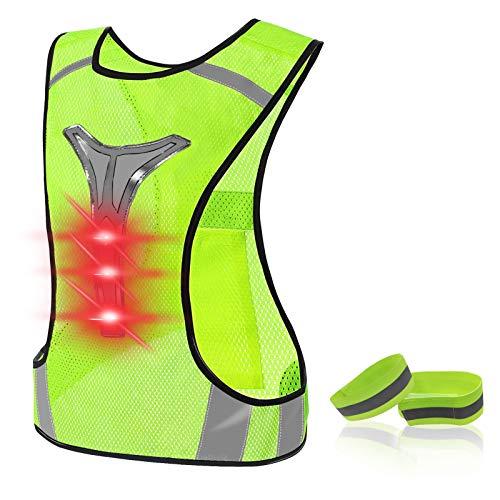 LED Warnweste, Fahrrad Leuchtweste Höhere Sichtbarkeit Einstellbare Fahrradweste Laufweste Reflektierende Weste Reflektorweste mit Beleuchtung und Reflektorband für Joggen, Laufen oder Radfahren