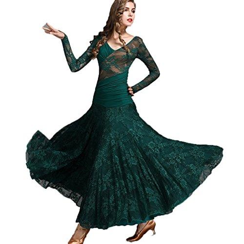Walzer Tanzkleidung für Damen Tango-Übungskleid V-Ausschnitt Spitze/Lange Ärmel Moderner Tanz/Standard Ballsaal Tanzkleider, XXL
