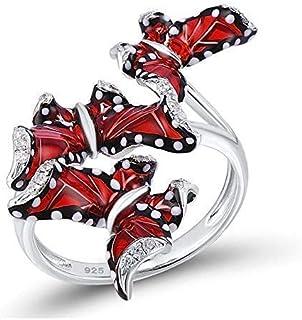 Red Enamel Butterfly Ring Sterling Silver 925