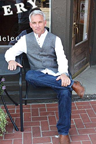 Men's Irish Vest Full Back Grey Herringbone Wool Blend Tweed Vest
