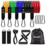 Exercise Bands Resistance Set with Door Anchor, Ankle Straps, Carry Bag and Guide for Training, Home Workout, Yoga, Pilates, Men & Women Accessories(11 Pieces)