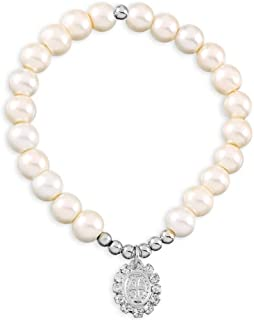 Catholic Religious Wear Saint Benedict Silver Plated Oval Medal Elasticated Bracelet With Glass Simulated Pearl Beads