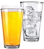 1 Pint Beer Glasses - 2 Pack – Elegant 16 oz Tall Clear Drinking Glass and All...