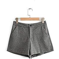 ZLYCP - Pantalones Cortos de Lana para Mujer de otoño e Invierno, Cintura Alta, Pierna Ancha, Color Salvaje Color Claro. M