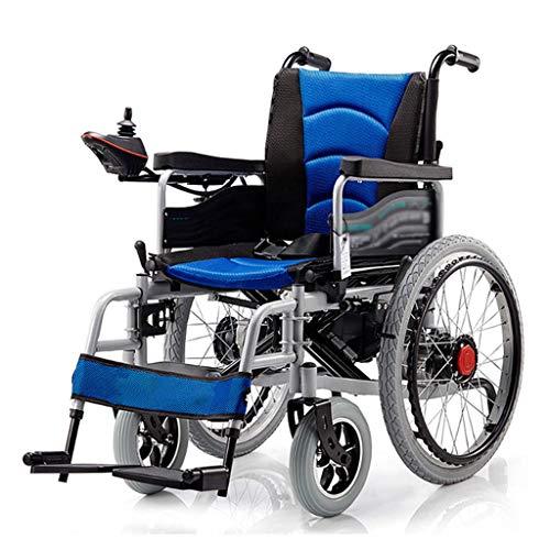 N/Z Home Equipment Leichter Elektrorollstuhl für Erwachsene Klappbarer motorisierter Rollstuhl mit bürstenlosen, leistungsstarken Motoren Blau
