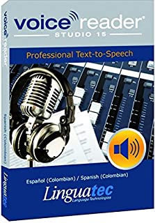 Voice Reader Studio 15 Español (Colombian) / Spanish (Colombian) – Professional Text-to-Speech Software (TTS) / Convert any text into audio / Natural sounding voices / Create high-quality audio files/ Large variety of applications: E-learning; Enrichment of training or advertising material; Traffic announcements, Telephone information systems; Voice synthesis of documents; Creation of audio books; Support for individuals with sight disability or dyslexia / Contains 1 female and 1 male voice