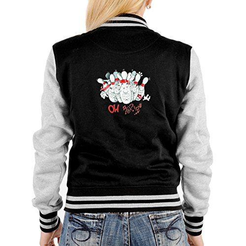 Goodman Design Coole Damen College Jacke: Bowlingjacke Bowling Kegel - Farbe: Schwarz Grau