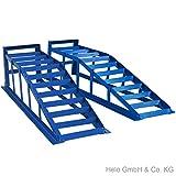 Helo 2 Stück KFZ Auffahrrampe blau 2000 kg Belastung pro Paar (max. 265 mm Reifenbreite), PKW Rampe Auffahrbock mit 21 Grad Auffahrwinkel und 240 mm Auffahrhöhe