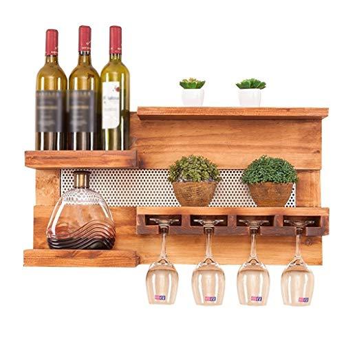 unknow Weinregale Wandregal Weinregal Naturholz Multifunktions-Wandbehang Lagerregal Weinflaschen und Brillenhalter Auf dem Kopf stehend Tassenregal Wanddekoration Regale, 70 cm