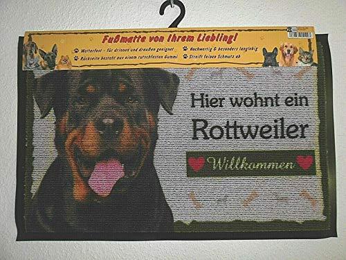 Pfronten Alfombrilla Rottweiler (42 ), Felpudo, Felpudo, Estera de Puerta Resistente a la Intemperie, Perro