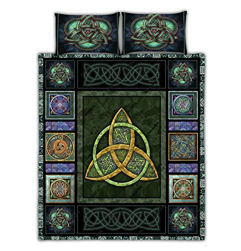 GAMUDA Irish Celtic Quilt Bed Set Pillow Cover Duvet Cover 3 Pieces Full Size Lap Throw Twin Queen King