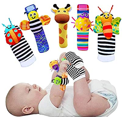 Foot Finders & Wrist Rattles for Infants Developmental Texture Toys for Babies & Infant Toy Socks & Baby Wrist Rattle - Newborn Toys for Baby Girls Boys - Baby Boy Girl Toys 0-3 3-6 6-9 Months from wgde toy