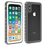 Waterproof Case for iPhone X/Xs, Eonfine Shockproof Waterproof Protective Case with Built-in Screen Protector for iPhone X/Xs 5.8 inch Grey, Support Wireless Charging