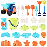 Beach Sand Toys For Kids - 26 PCS Sand Castle Toys for Beach, Snow Toys Sandbox Toys with Truck, Water Wheel, Sand Bucket with Sifter, Shovels, Rakes, Animal Castle Molds in Mesh Bag,Kids Outdoor Toys