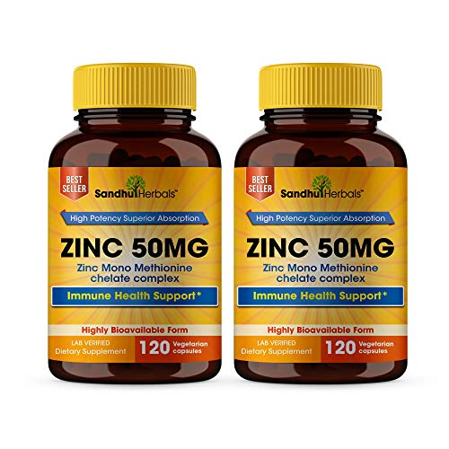 High Potency Zinc 50mg Highly Absorbable Immune Support Booster, Best Zinc for Adults - Zinc Pills Offer High Potency Alternative to Lozenge, Chewable Tablets, Liquid(8 Month Supply) 2 Pack