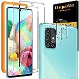 [4 Pack] UniqueMe 2 Pack Protector de Pantalla Compatible con Samsung Galaxy A71 y 2 Pack Protector de lente de cámara Cristal Templado, [Dureza 9H][Sin Burbujas] HD Vidrio Templado