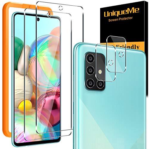 [2+2 Pack] UniqueMe Protector de Pantalla Compatible con Samaung Galaxy A71 y Protector de lente de cámara, [Dureza 9H][Sin Burbujas] HD Cristal Vidrio Templado