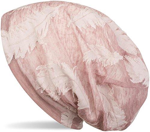 styleBREAKER styleBREAKER Beanie Mütze mit gewebtem Feder Muster, Slouch Longbeanie, Unisex 04024130, Farbe:Altrose