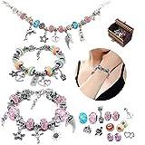 Bracelet Enfant Fille, 56pcs Kit Fabrication Bijoux DIY Breloque Creation Bijoux Ensemble Loisirs Creatifs Cadeau Fille Pour Meilleure Amie Enfant Fille