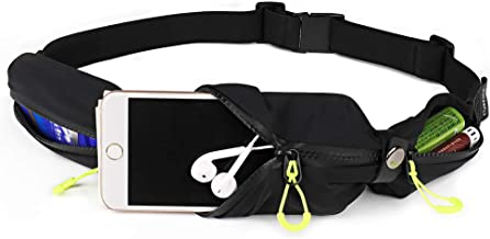 Waterfly Running Pouch Belt Fanny Pack for Men Women 3 Pockets Runner Waist Pack Bag for Fitness Workout Running Traveling Carrying iPhone X,Glaxy Note 10
