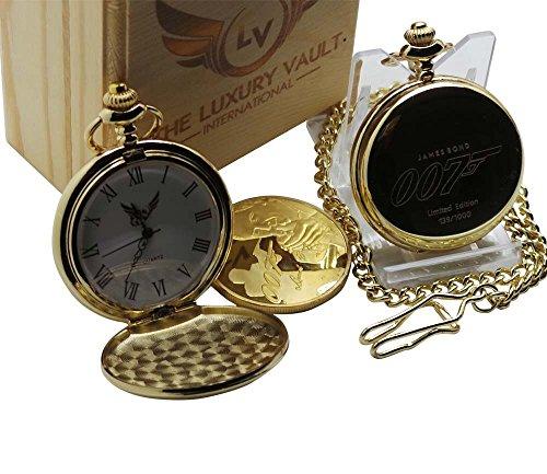 Gold James Bond Collection, limitierte 007 Ausgabe, Taschenuhr und schöne Münze, Geschenkset in Holzbox