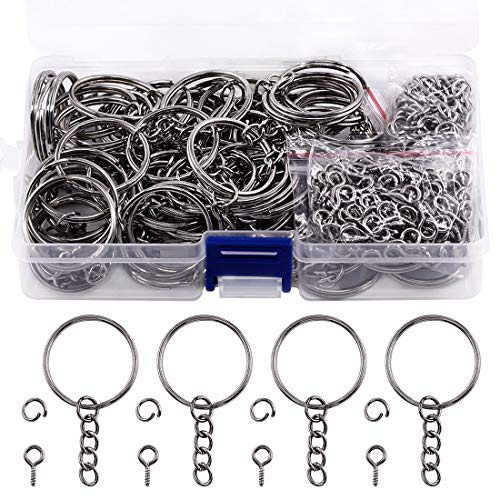 Swpeet 360Pcs 6/5' 30mm Gun-Black Key Chain Rings Kit, Including 120Pcs Keychain Rings with Chain and 120Pcs Jump Ring with 120Pcs Screw Eye Pins Bulk for Jewelry Findings Making (Gun-Black)
