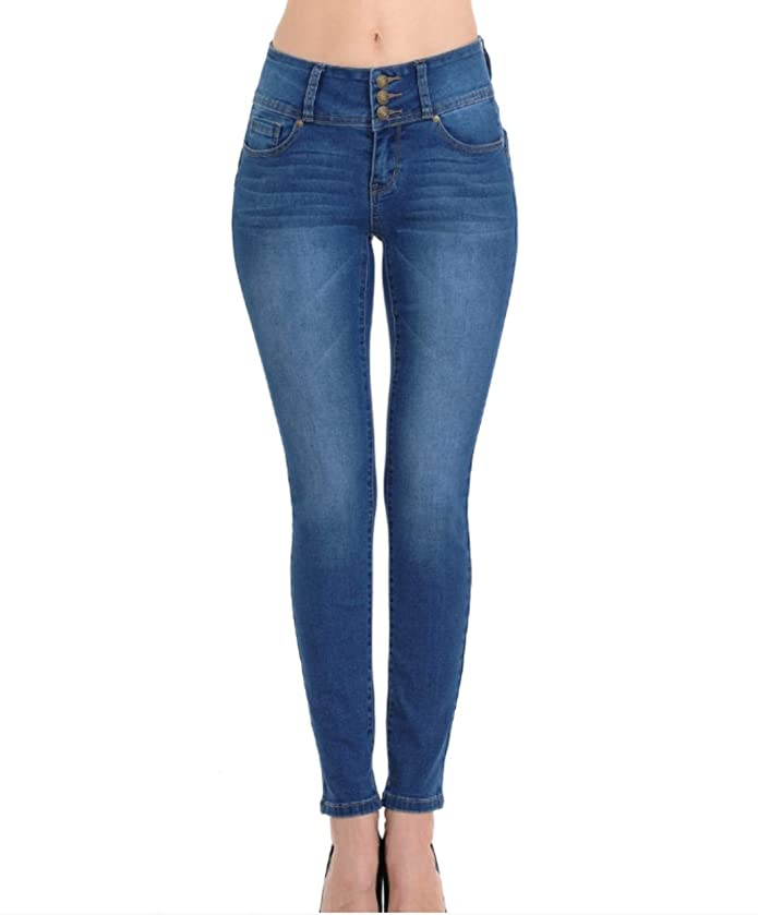 Wax Women's Push-Up 3 Button Skinny True Stretch Jean Butt I Love!