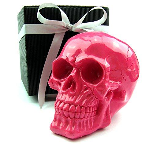 Totenkopf Toten-Schädel Skull, stylische Farben Geschenk-Set, schwarze Geschenk-Box, Geschenk für Frauen, Männer, Gothic, Mystik, Fantasy, Weihnachten, Party-Geschenk (pink glanz)