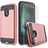 Moto G4 Play Case, Moto G Play Case, Moto E3 Case, Dual Layers [Slim Armor] Bundled with [HD Premium Screen Protector] Hybird Shockproof and Circlemalls Stylus Pen (Rose Gold)
