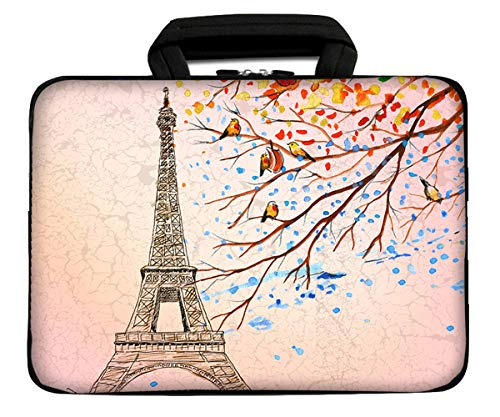 "iColor 9.7"" 8"" Tablet Bag Case 10"" Laptop Sleeve 10.1"" 10.2"" Handbag Carrier eBook Computer PC Netbook Readers Top Handle Protection Carrying Cover Holder-Eiffel Tower"