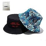 Lanly - Cappello da pescatore, unisex, indossabile in entrambi i versi, in 100% cotone, pieghevole, stile moderno, ideale per escursioni e viaggi, Blu
