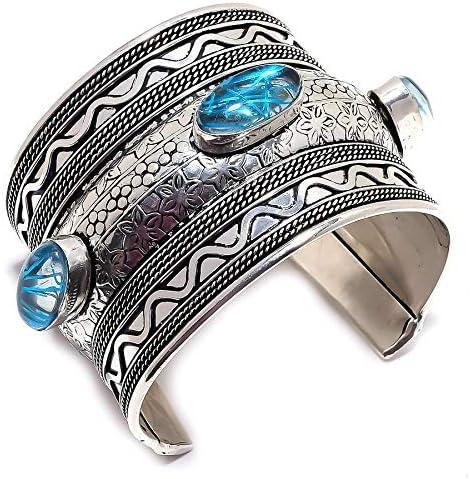 YUVI Blue Rutilated Quartz Ethnic .925 Silver Jewelry Cuff Brace