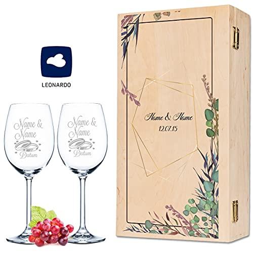 Leonardo - Copas de vino con grabado de nombre y fecha en diseño de flores Polygon – como regalo para boda, compromiso o aniversario – Incluye caja de madera vintage impresa, el regalo de boda