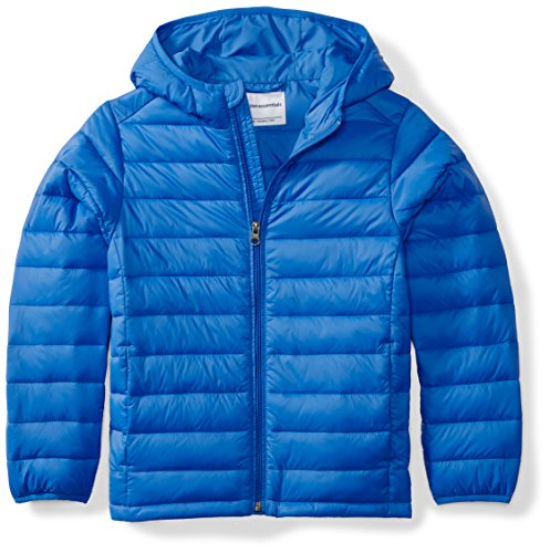 Amazon Essentials Kids Boys Light-Weight Water-Resistant Packable Hooded Puffer Jackets Coats, Blue, Small