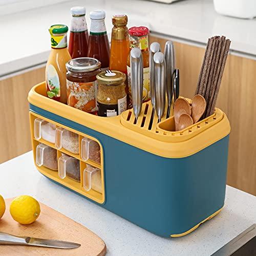 Organizador de Estantes de Especias de Cocina: Organizador de Estantes de Almacenamiento con 6 Tarros de Especias para Condimentos, Colección de Soportes para,Blue