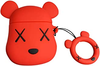AirPods Case Cute Cartoon Animal Shape,AirPods Accessories Kits Funny 3D Gloomy Bear Silicone AirPods Cover Case for Apple Airpods 2 & 1 Cool Fun Girls Teens Boys Men Red