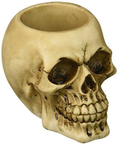 Zings & Thingz 57072975 Grinning Skull Pen Holder, Cream