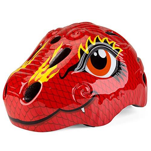 iEFiEL Mädchen Jungen Helm Fahrradhelm Dinosaurier Tier Helm mit LED-Rücklicht Kinder Schutzhelm für Fahrrad Ski Skateboard Scooter Rot Einheitsgröße