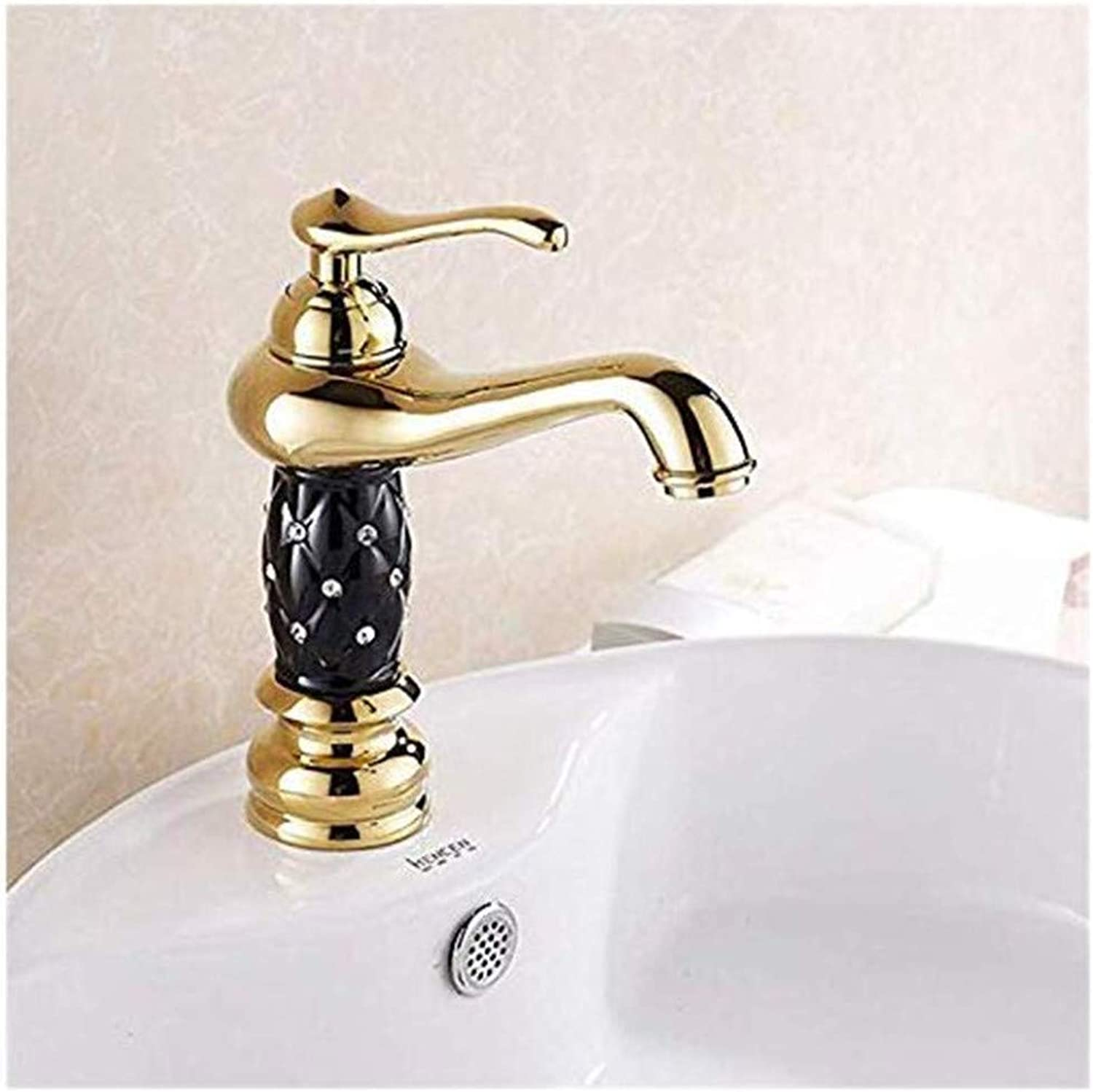 Faucetbasin Faucet Bathroom Sink Tap Basin Faucets gold color Deck Mounted Bathroom Mixer Faucets Black Finish with Diamond Bathroom Sink Faucet Single Handle Washbasin Hot Cold Mixer Water Tap