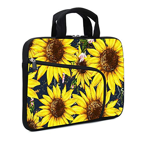 XMBFZ 11.6' 12.2 inches Laptop Sleeve Chromebook Case Ultrabook Case Notebook Sleeve PC Messenger Bag Tablet Case Neoprene Handle Sleeve for Kids Men Women, Two Pockets (Sunflowers)