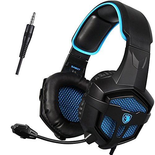 Sades SA807 3.5mm Stereo Bass di Gioco Fascia Cuffie Cuffia Gaming Headset con Microfono Regolatore di Volume per PS4 PC XBOX ONE iPhone Smart Phone Laptop Tablet iPad iPod MP3 MP4 Mobilephones