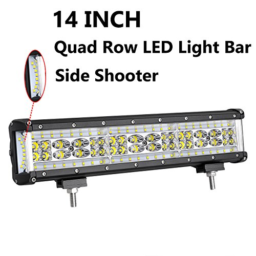 LED Light Bar, Moso LED 14 inch 250W LED Side Shooter LED Spot Flood Combo Light LED Driving Light LED Fog Light Work Light for Truck Jeep Off Road ATV SUV
