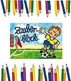 6 Zauberblöckchen Fussball + 12 Partynelly Buntstifte, 6 Zauberblöcke für Jungen, Fussball A7, Zauberblock, Malblock, Ausmalblock, Mitgebsel, Fussballparty, Fußballer, Fussball,...