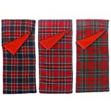 3 Pieces Sleeping Bags Christmas Accessory for Elf Doll, Red Plaid Sleeping Bags for Xmas Elf Doll Decorations (Doll is not Included)